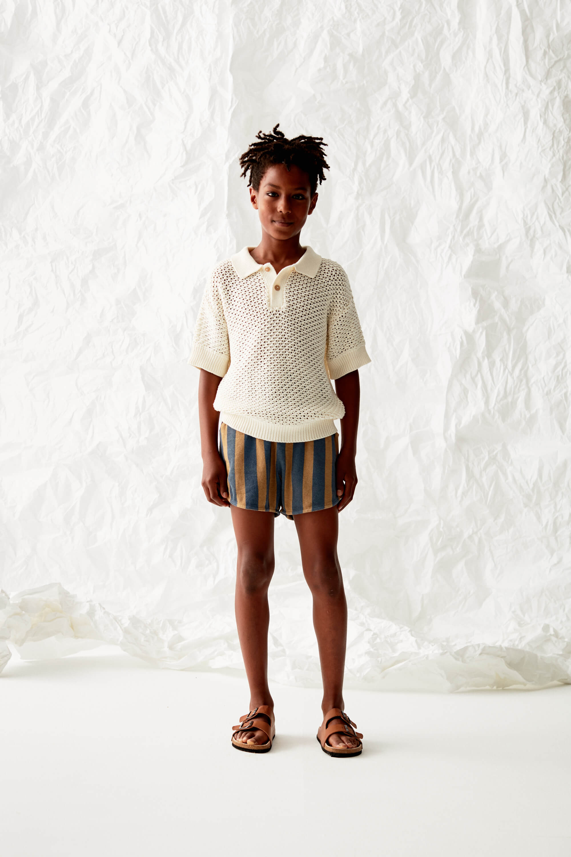 Open Knitted Polo Look